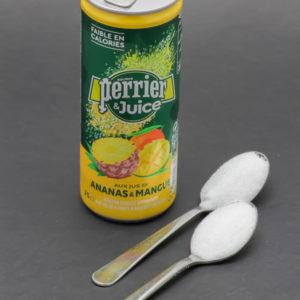 1 Perrier & Juice ananas et mangue de 25cl contient 1,8 cuil. à café de sucre soit 9,1g