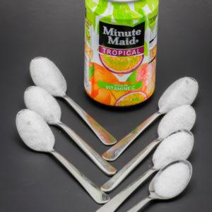 1 Minute Maid Tropical de 33cl contient 6,3 cuil. à café de sucre soit 31,3g