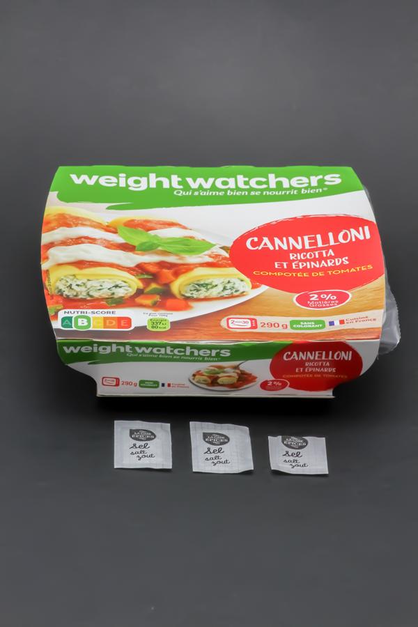 1 barquette de cannelloni ricotta et épinards WeightWatchers contient 2,9 dosettes de sel soit 2,3g
