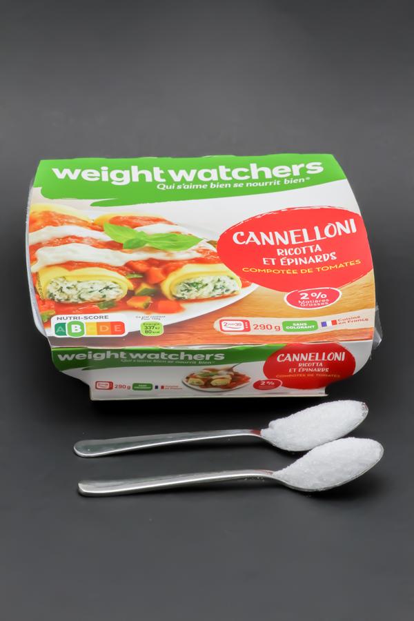 1 barquette de cannelloni ricotta et épinards WeightWatchers contient 2,2 cuil. à café de sucre soit 11g